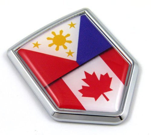 Canada Philippines Flag Canadian Philippinian Car Chrome Emblem Decal Auto 3D sticker