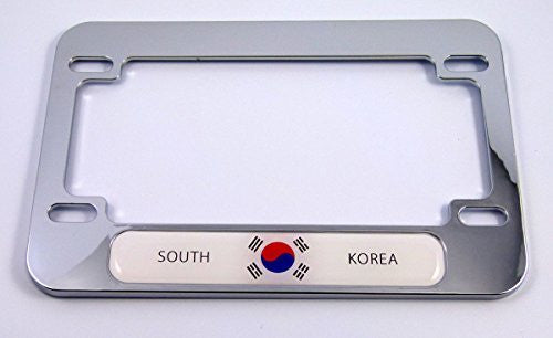 Korea Korean flag Motorcycle Bike ABS Chrome Plated License Plate Frame