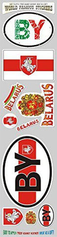 Car Chrome Decals STS-BY Belarus 10 stickers set Belarusian flag decal bumper stiker car auto bike laptop