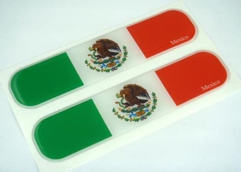 "Mexico Mexican Flag Domed Decal Emblem Car Flexible Sticker 5"" Set of 2"