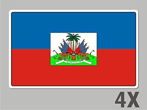 4 Haiti Haitian stickers flag decal bumper car bike laptop .. emblem vinyl FL024