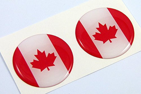 "Canada flag Round domed decal 2 emblems. Car bike laptop stickers 1.45"" PAIR"