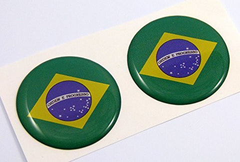 "Brazil flag Round domed decal 2 emblems. Car bike laptop stickers 1.45"" PAIR"