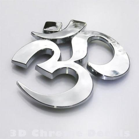 Aum Om, car auto bike 3D chrome decal yoga symbol