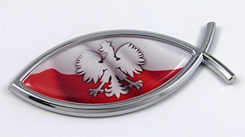 Car Chrome Decals CBFSH168 Poland Jesus Fish Polish Flag Car Chrome Emblem Decal 3D Sticker Polska Eagle