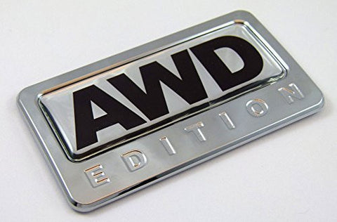 Car Chrome Decals CBEDI-AWD AWD All wheel drive Edition Chrome Emblem with domed decal Car Auto Bike Badge