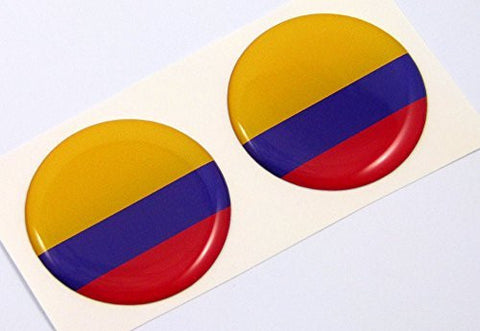 "Colombia flag Round domed decal 2 emblems. Car bike laptop stickers 1.45"" PAIR"