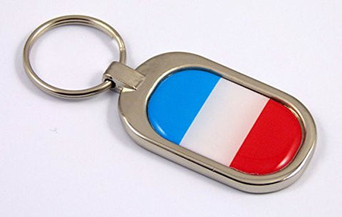 France Flag Key Chain metal chrome plated keychain key fob keyfob French