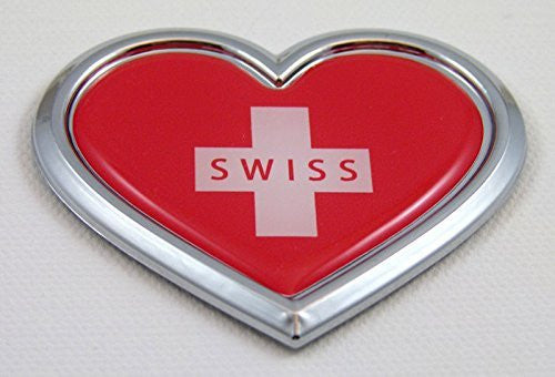 Car Chrome Decals CBHRT208 Switzerland HEART Flag Chrome Emblem Car Decal 3D Sticker Badge Bumper Swiss