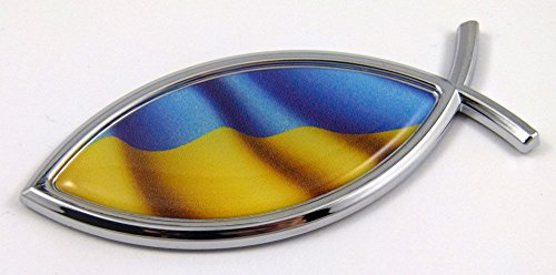 Ukraine Jesus Fish Ukrainian Flag Car Bike Chrome Emblem Decal Sticke Christian