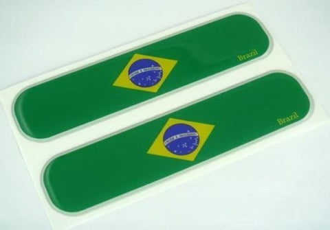 "Brazil Brazilian Flag Domed Decal Emblem Car Flexible Sticker 5"" Set of 2"