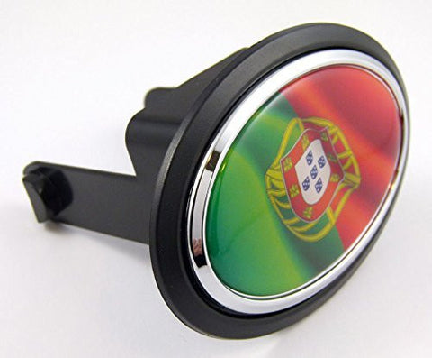 "Portugal Portugese Flag Hitch Cover cap 2"" receiver black with chrome & dome"
