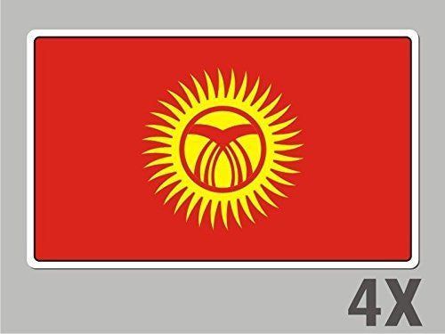 4 Kyrgyzstan stickers flag decal bumper car bike laptop .. emblem vinyl FL035