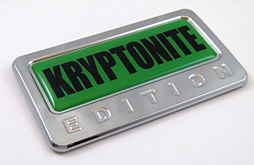 Kryptonite Edition Chrome Emblem with Domed Decal Car Auto Bike Badge Krypton