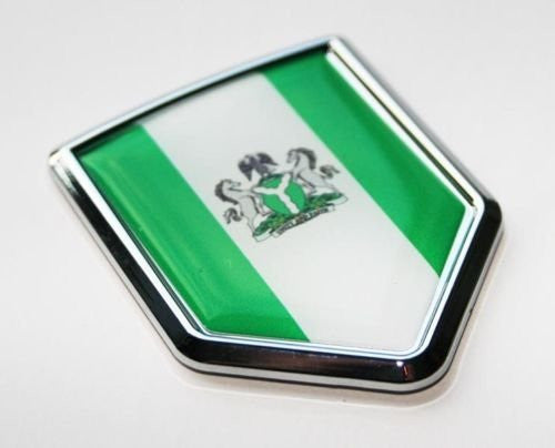 Car Chrome Decals CBSHD153 Nigeria, Nigerian Flag Decal Car Chrome Emblem Sticker