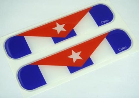 "Cuba, Cuban Flag Domed Decal Emblem Car Flexible Sticker 5"" Set of 2"