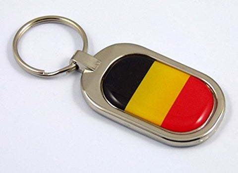 Belgium Flag Key Chain metal chrome plated keychain key fob keyfob Belgian