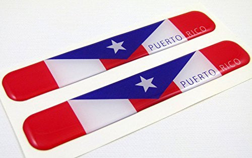 "Puerto Rico Flag Domed Decal Emblem Resin car stickers 5""x 0.82"" 2pc."