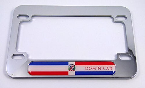 Dominican Republic flag Motorcycle Bike ABS Chrome Plated License Plate Frame