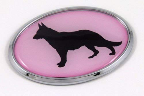 German Sheppard Pink Dog 3D Chrome Emblem Pet Decal Car Auto Bike Truck Sticker