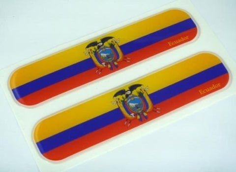 "Ecuador Ecuadorian Flag Domed Decal Emblem Car Flexible Sticker 5"" Set of 2"