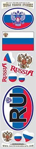 Car Chrome Decals STS-RU Russia 11 stickers set Russian flag decals bumper stiker car auto bike laptop