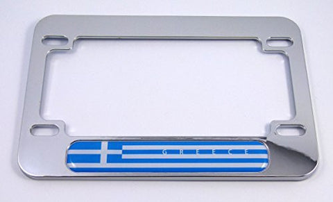 Greece Greek flag Motorcycle Bike ABS Chrome Plated License Plate Frame