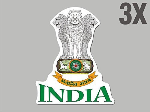 3 India shaped stickers flag crest decal bumper car bike emblem vinyl CN016