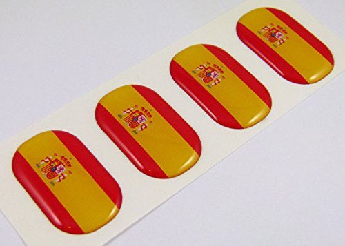 "Spain midi Spanish domed decals flag 4 emblems 1.5"" Car bike laptop stickers"