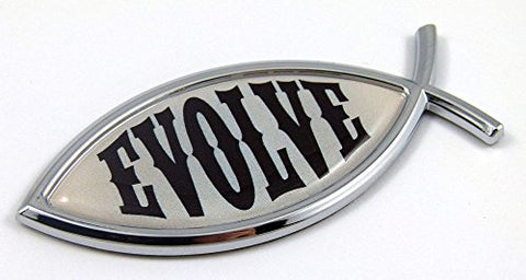 Evolve Evolution Jesus Fish Car Bike Auto Chrome Emblem Decal Sticker3D Darwin