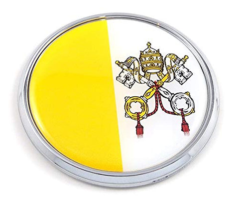 "Vatican Flag 2.75"" Car Chrome Round Emblem Decal 3D Badge"