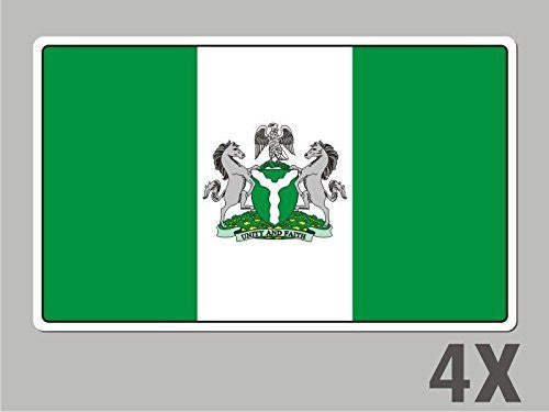 4 Nigeria stickers flag decal bumper car bike laptop .. emblem vinyl FL044