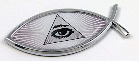 All Seeing Eye Masonic Jesus Fish Car Bike Auto Chrome Emblem Decal Sticker