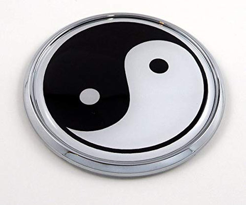 "Yin Yang Flag 2.75"" Car Chrome Round Emblem Decal 3D Sticker Badge"