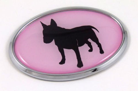 Bull Terrier Dog Pink 3D Chrome Emblem Pet Decal Car Auto Bike Truck Sticker
