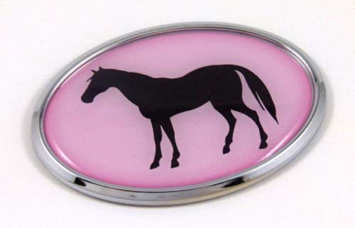 Horse Pink 3D Chrome Emblem Pet Decal Car Auto Bike Truck Sticker