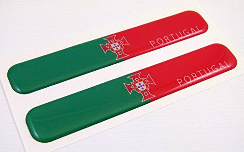 "Portugal Portuegese Flag Domed Decal Emblem Resin car stickers 5""x 0.82"" 2pc."
