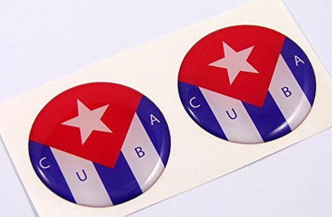 "Cuba Cuban flag Round domed decal 2 emblems. Car bike laptop stickers 1.45"" PAIR"