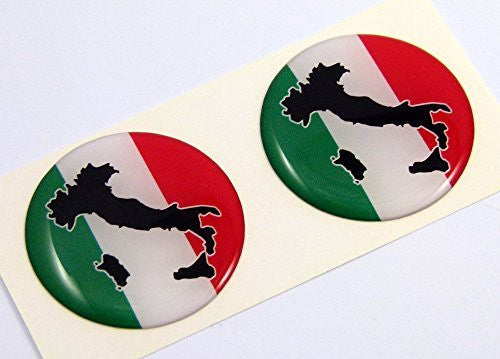 "Italia Italy flag Round domed decal 2 emblem Car bike stickers 1.45"" PAIR"