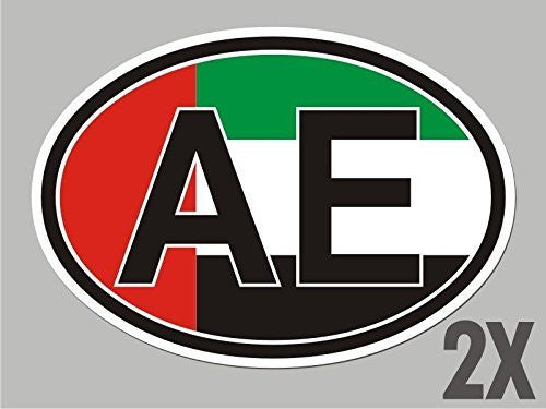 2 UAE United Arab Emirates AE OVAL stickers flag decal bumper car bike CL065