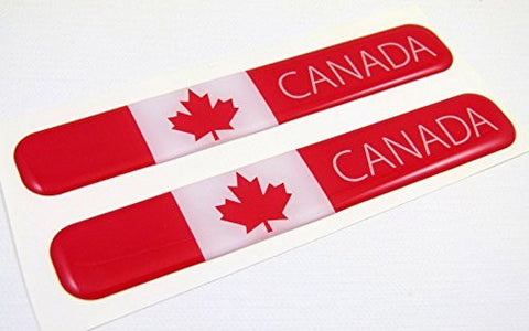 "Canada Canadian Flag Domed Decal Emblem Resin car auto stickers 5""x 0.82"" 2pc."