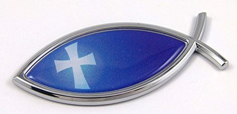 Car Chrome Decals CBFSH-BLUE Jesus Fish With Cross Flag Car bike Auto Chrome Emblem Decal Sticker Christian