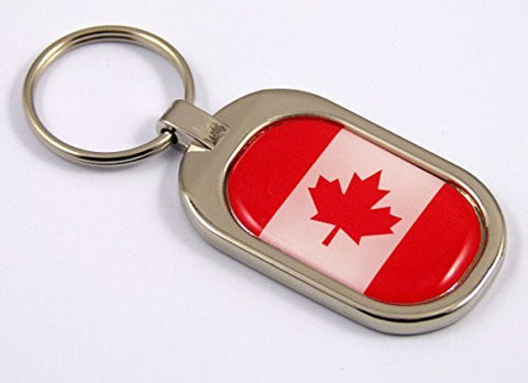 Canada Flag Key Chain metal chrome plated keychain key fob keyfob Canadian