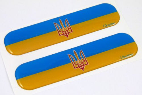 "Ukraine Ukrainian Flag Domed Decal 5"" x 1.25"" Set of 2"