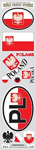 Car Chrome Decals STS-PL Poland 11 stickers set Polish Polska flag decals bumper car auto bike laptop