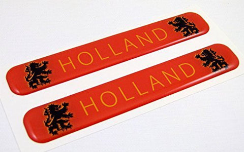 "Holland Flag Domed Decal Emblem Resin car stickers 5""x 0.82"" 2pc."