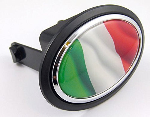 "Italy Italian Flag Hitch Cover Cap 2"" receiver black with chrome & dome"