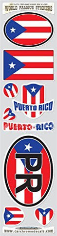 Car Chrome Decals STS-PR Puerto Rico 9 stickers set Puerto Rican flag decals bumper car auto bike laptop
