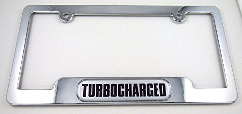 Turbo Charged Chrome License Plate Frame Dome Emblem Freescrew caps turbocharged