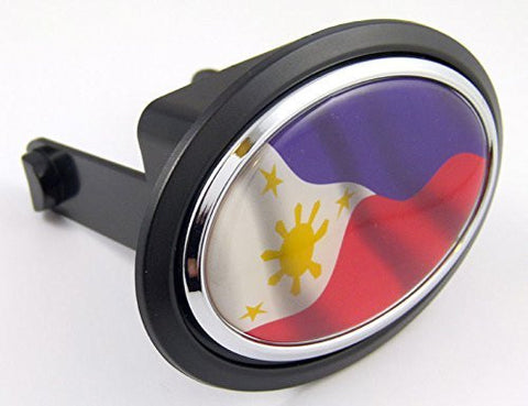 "Philippines Flag Hitch Cover cap 2"" receiver black with chrome & dome"